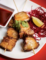bamboo on 2nd pork belly skewers