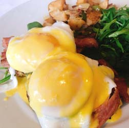 galley and garden eggs benedict